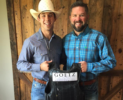 Bull rider Tye Chandler with Jon Goetz of Goetz Realty & Development